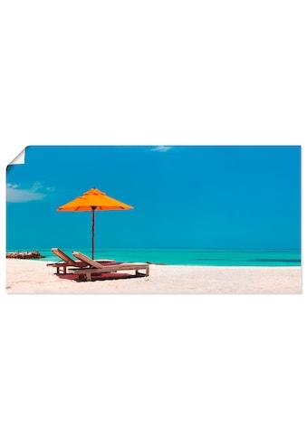 Artland Wandbild »Liegestuhl Sonnenschirm Strand Malediven«, Strand, (1 St.), in... kaufen