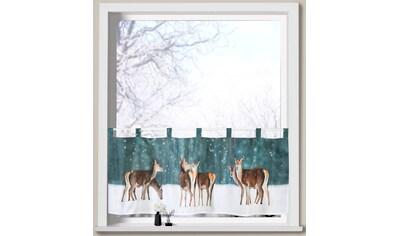 Weckbrodt Scheibengardine »Hirsche im Schnee«, Microsatin kaufen