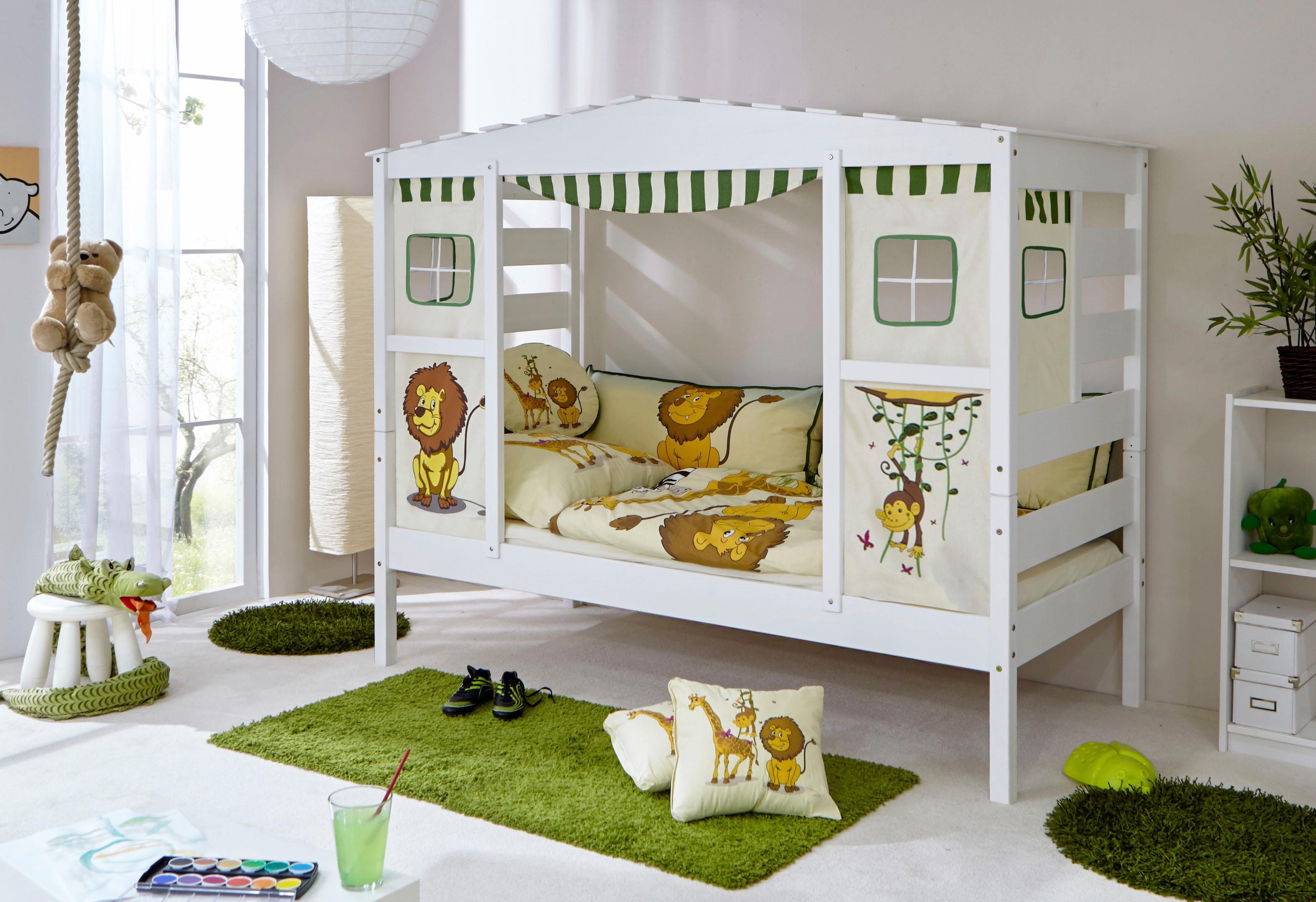 Ticaa Kinderbett in Hausoptik »Lio« aus massiver Kiefer, Liegefläche ...