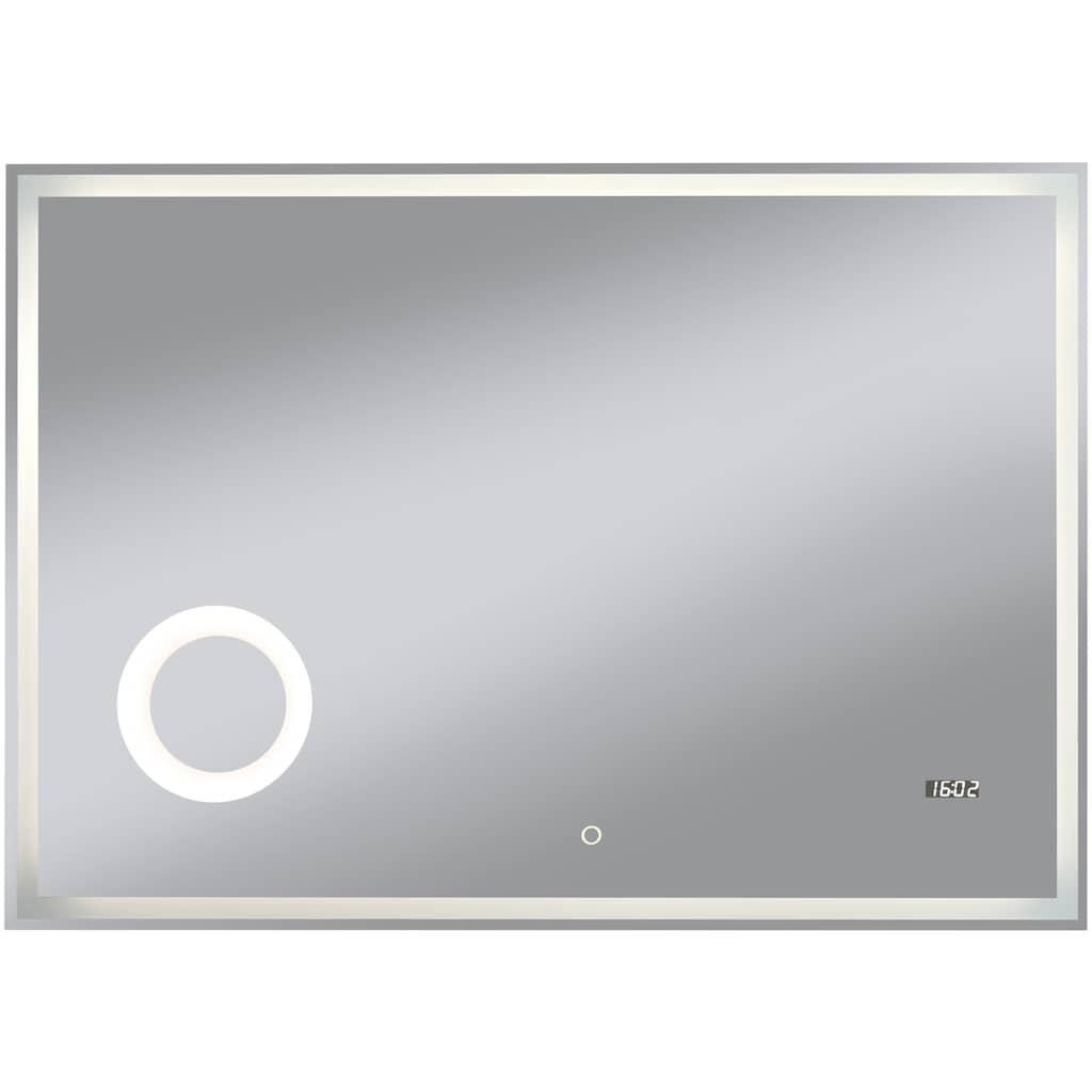 welltime Badspiegel »Flex«, 100 x 70 cm, LED-Beleuchtung, Uhr, Vergrößerungsspiegel