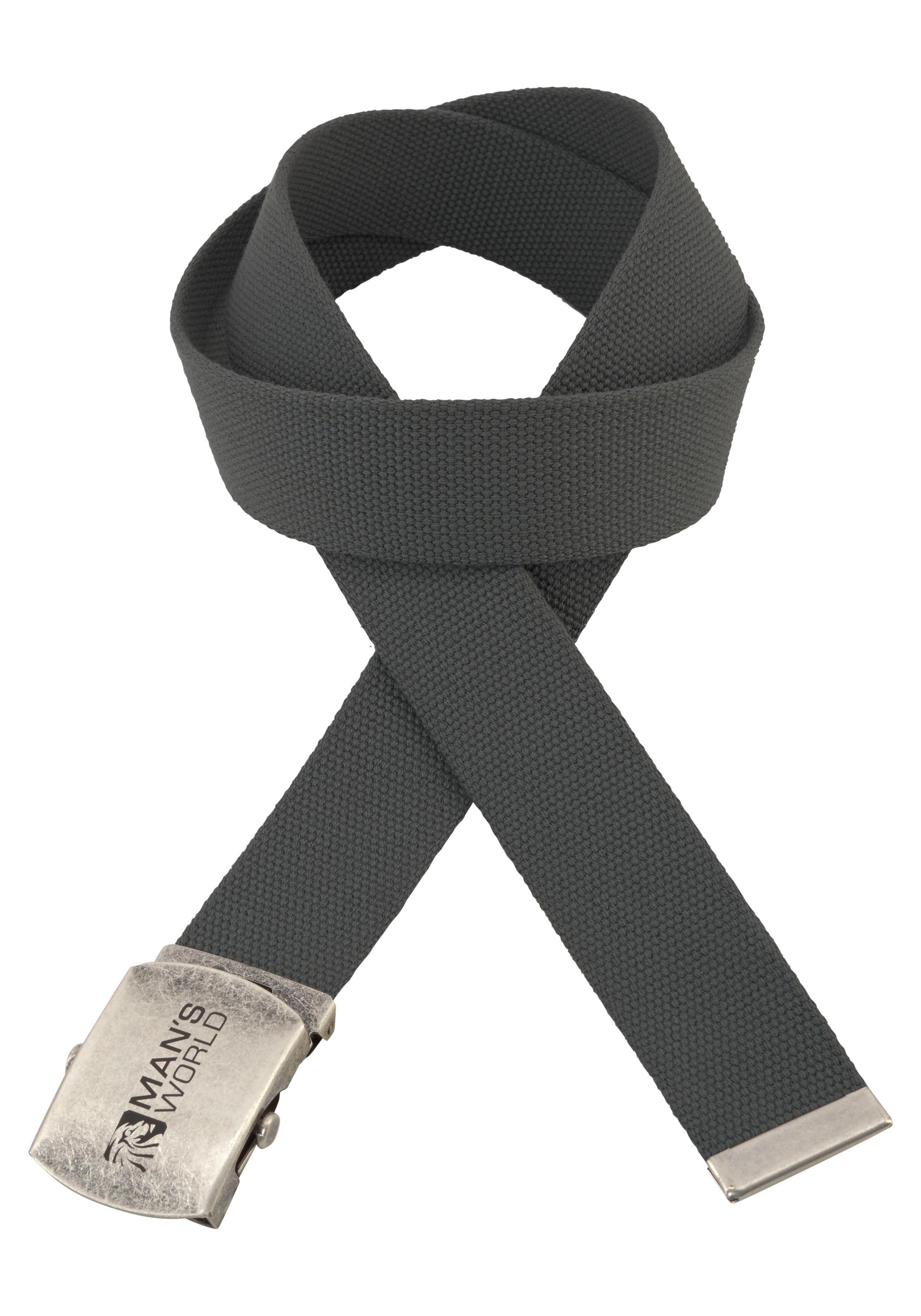 Man's World Stoffgürtel, Mit Koppelschließe, Textilbandgürtel grau Damen Koppelgürtel Gürtel Accessoires Stoffgürtel