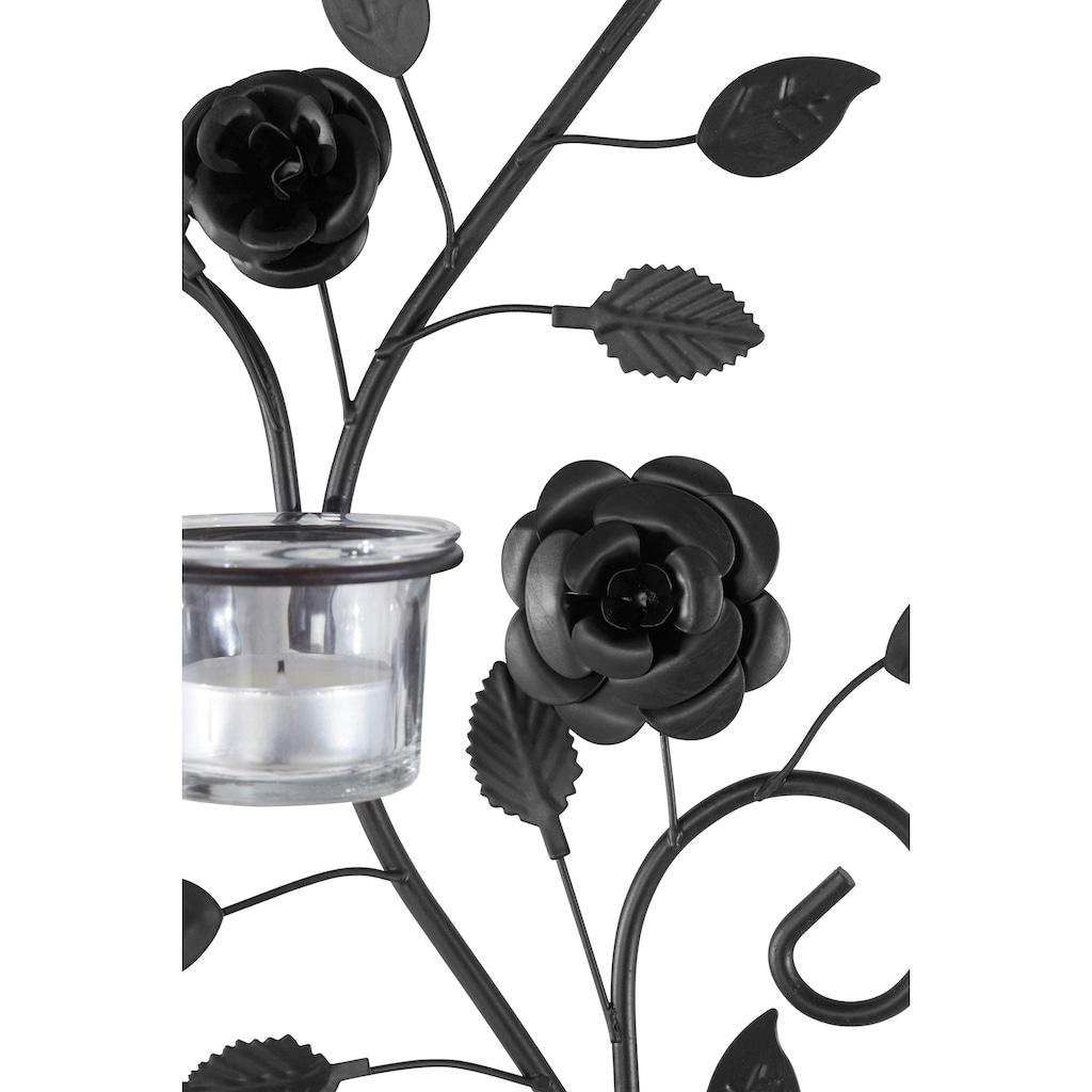 Home affaire Wandkerzenhalter »Blumenranke«, Wandleuchter, Wanddeko, Wanddekoration, aus Metall, mit Used-Effekt