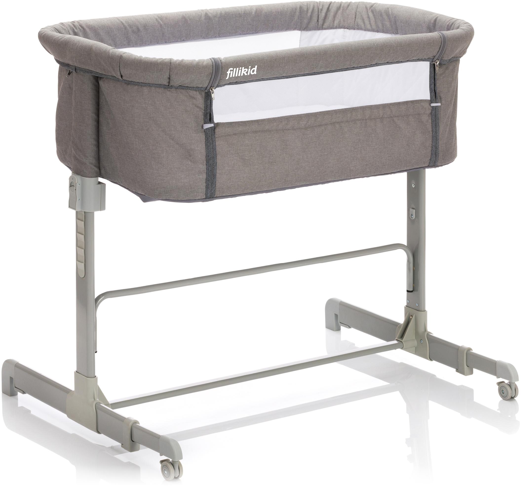 Fillikid Beistellbett Relax, grau melange Baby Beistellbetten Babybetten Babymöbel