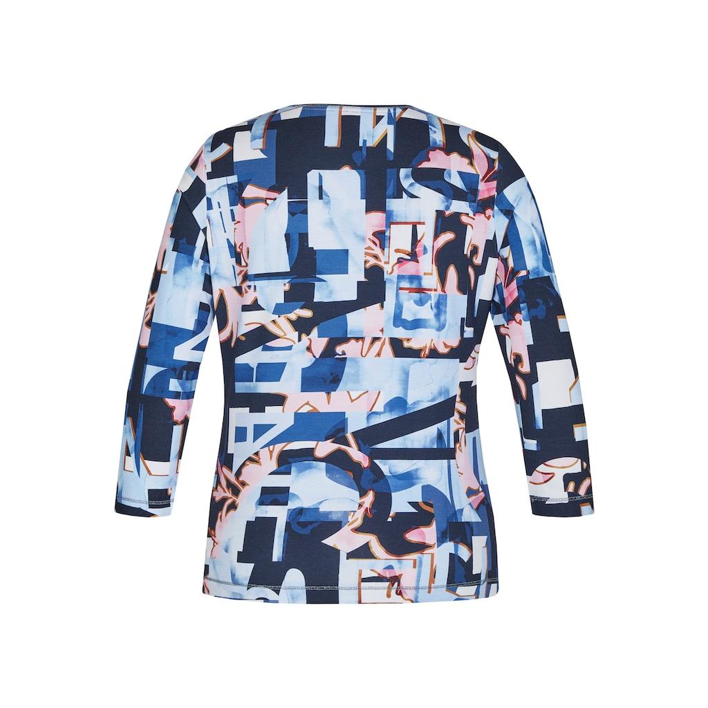 Rabe Rundhalsshirt, mit abstraktem Allover-Muster und Lettering