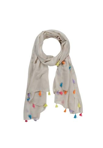 Codello Unifarbener Schal mit bunten Troddeln kaufen