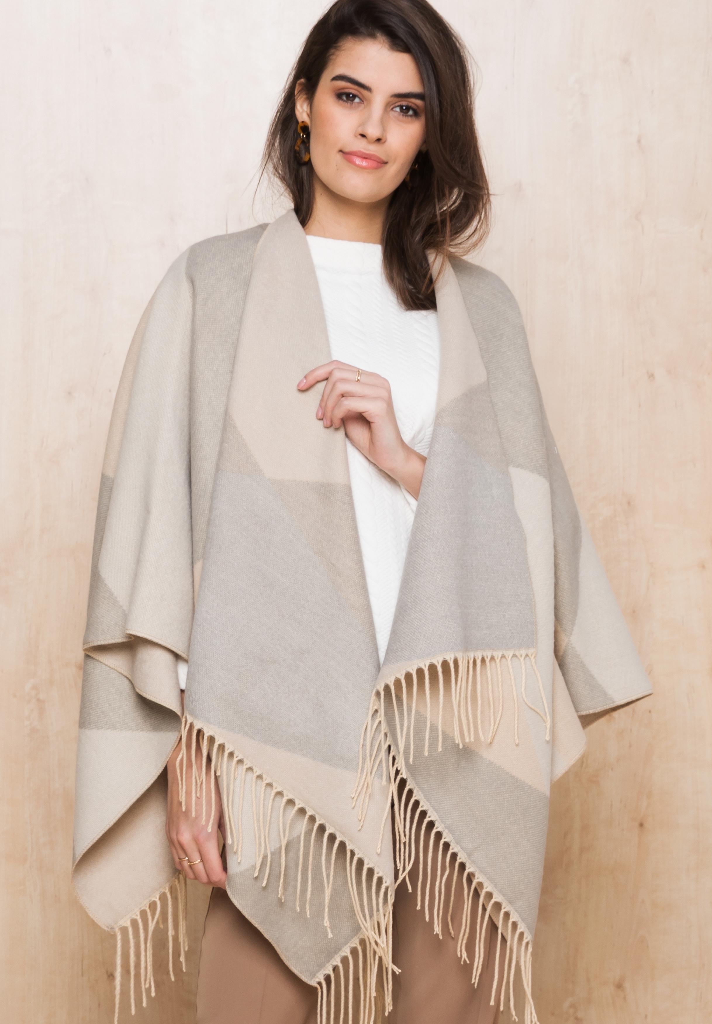 bianca -  Modeschal KAPA, im Poncho-Style in soften Tönen