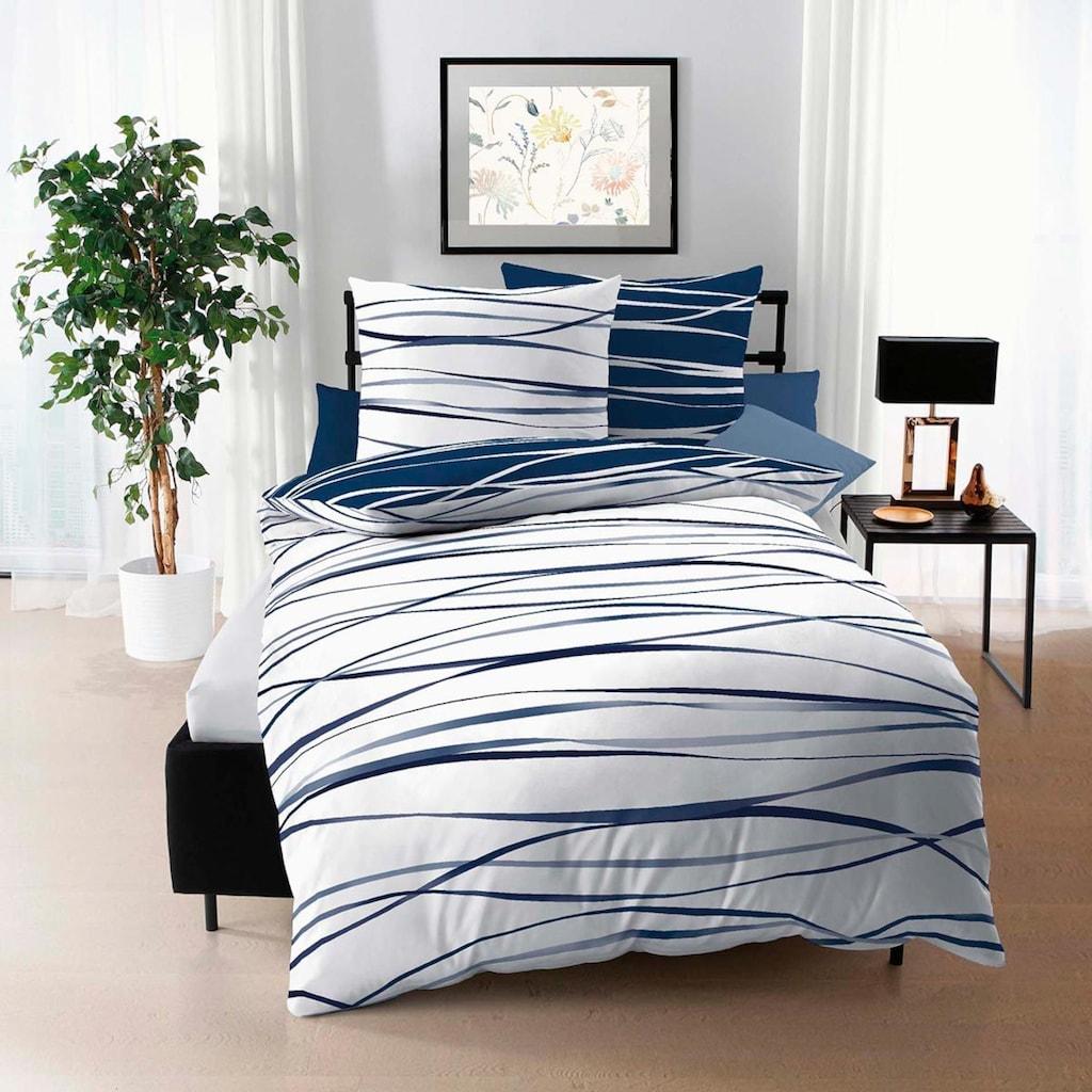 BETTWARENSHOP Bettwäsche »Satinmotion marine«, zarter Seidenglanz mit zeitlosem Design