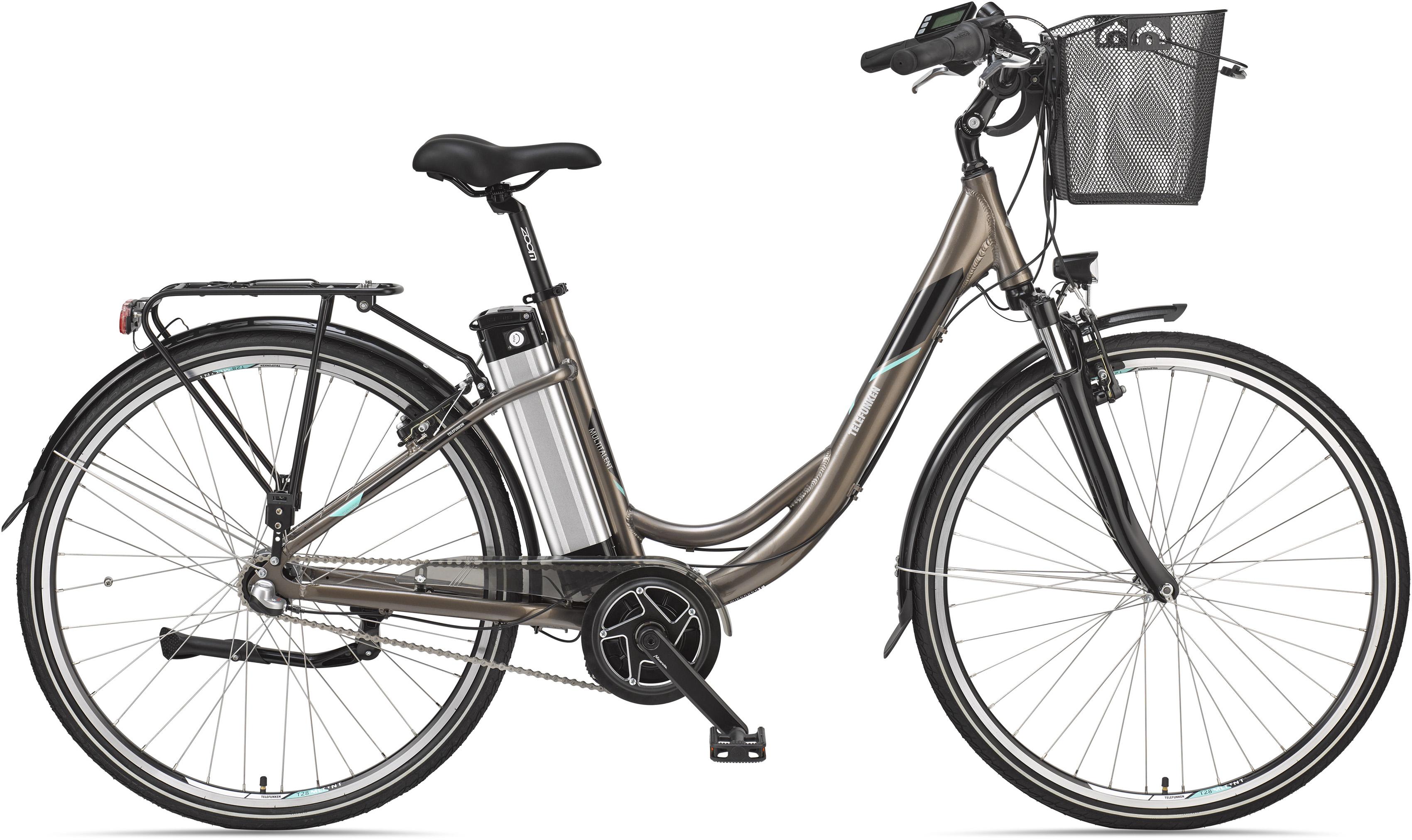 Telefunken E-Bike Multitalent RC865, (mit Fahrradkorb) braun Elektro-Cityräder E-Bikes Fahrräder Zubehör