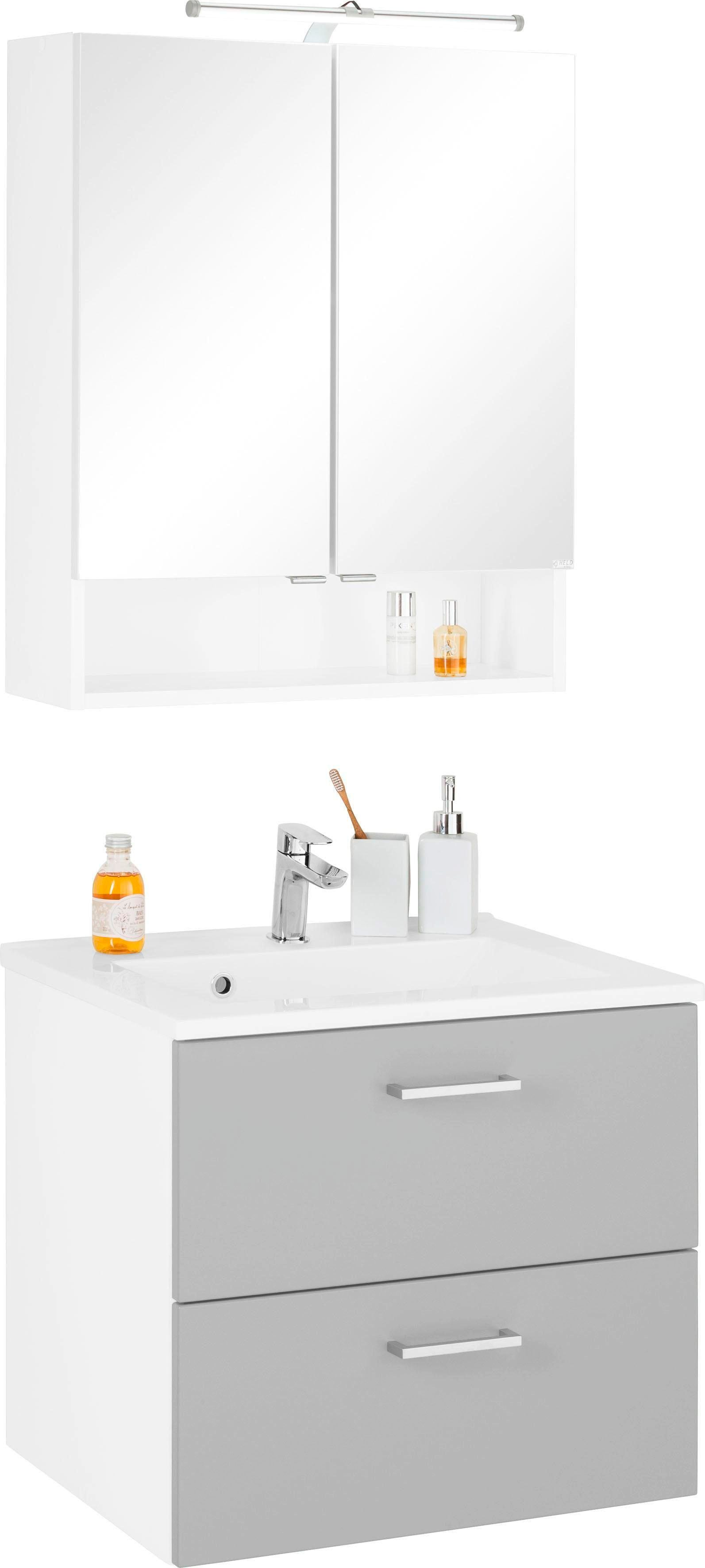 HELD MÖBEL Badmöbel-Set Ribera, (2 tlg.), Spiegelschrank Breite 60 cm, Wasc günstig online kaufen