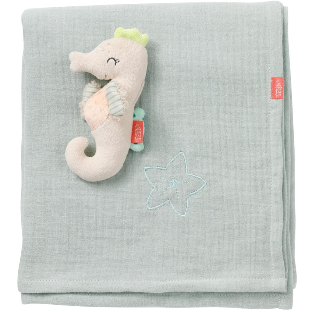 Fehn Babydecke »Meereskinder, Musselindecke Seepferd«, mit kleinem Greifling