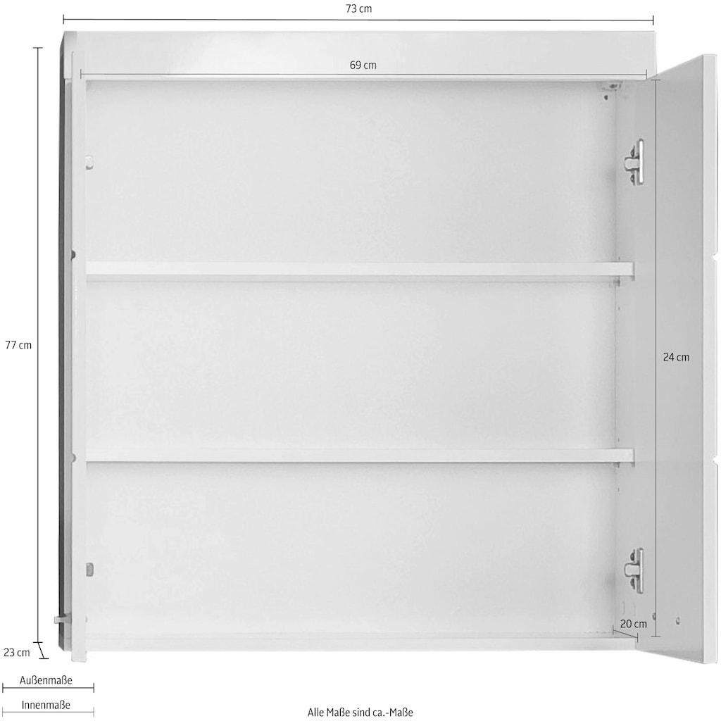 trendteam Hängeschrank »Amanda«, Breite 73 cm, Badezimmerschrank mit verstellbare Zwischenböden, MDF-Fronten in Hochglanz- oder Holzoptik
