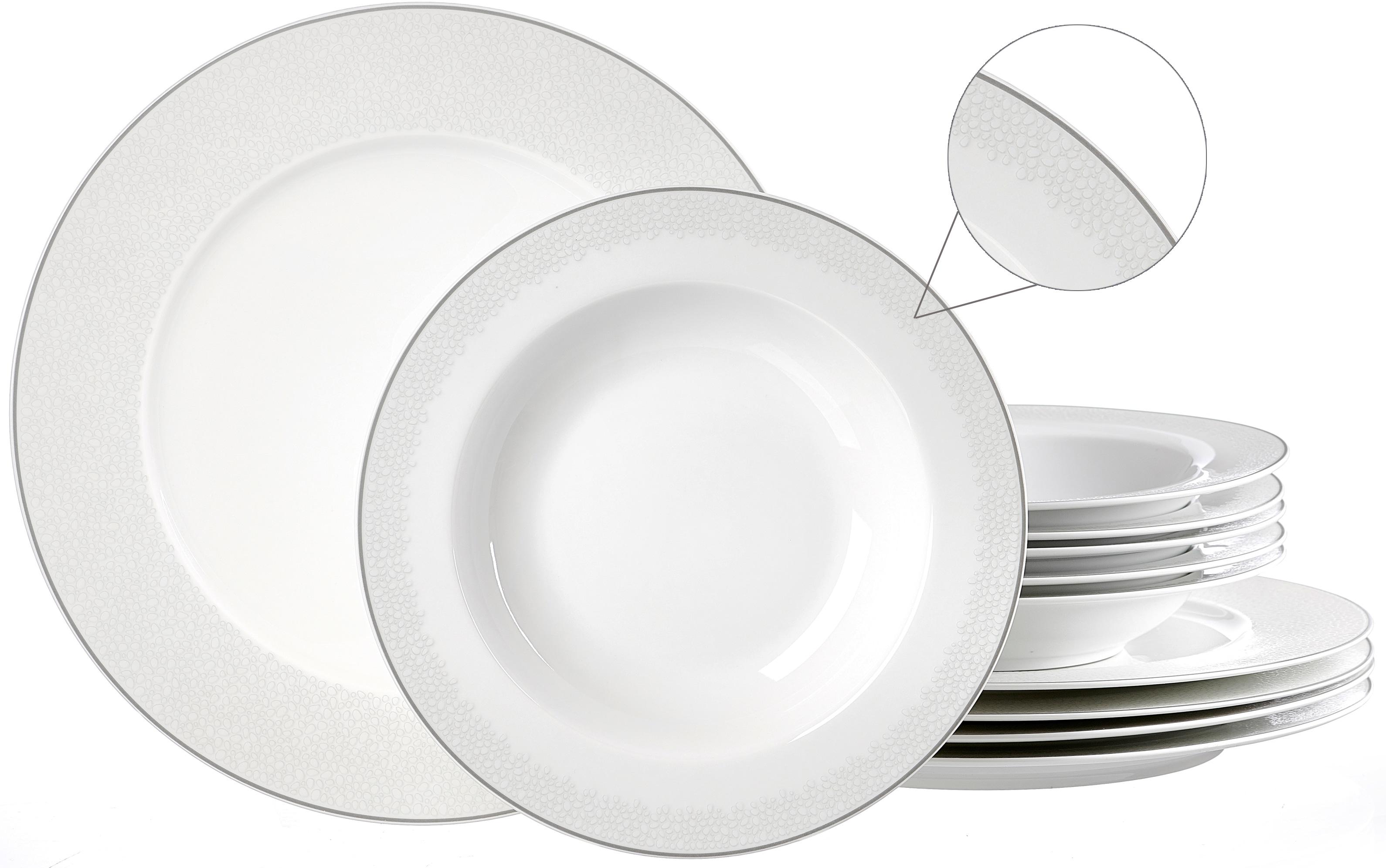 Ritzenhoff & Breker Tafelservice Venezia, (Set, 12 tlg.), puristisches Design weiß Geschirr-Sets Geschirr, Porzellan Tischaccessoires Haushaltswaren