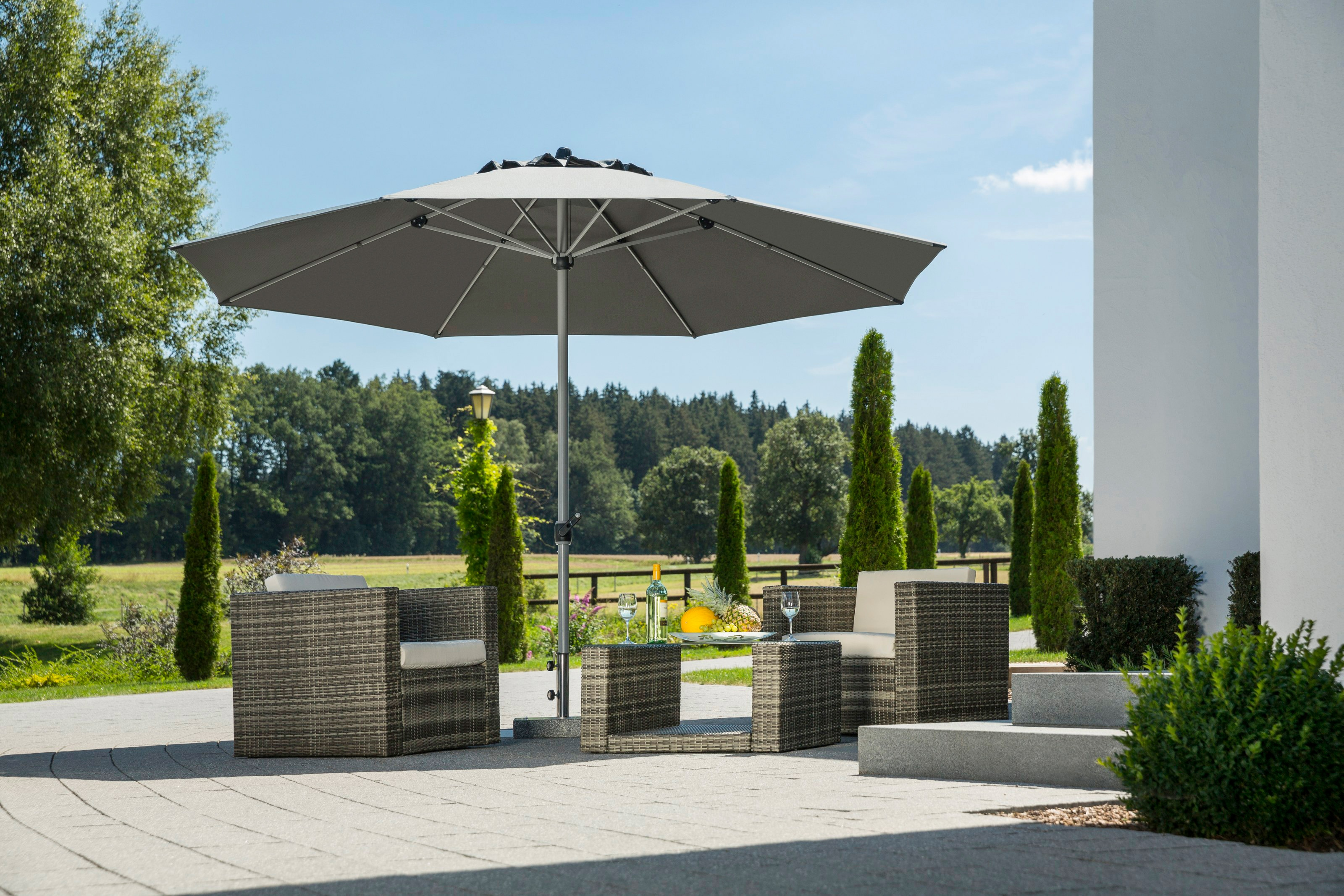 Schneider Schirme Sonnenschirm Gemini, ohne Schirmständer grau Sonnenschirme -segel Gartenmöbel Gartendeko