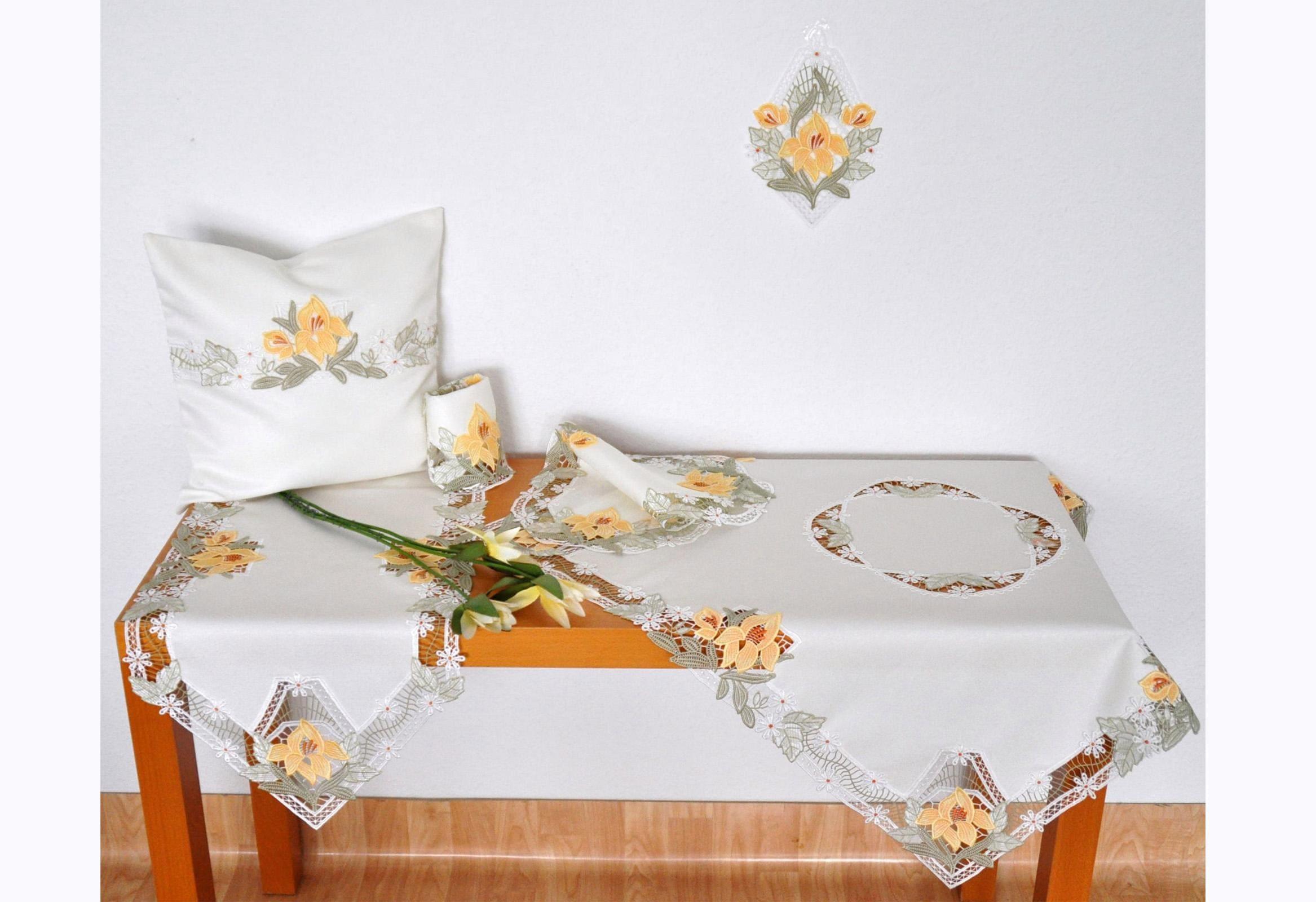 Tischdecke Lilienzeit Stickereien Plauen