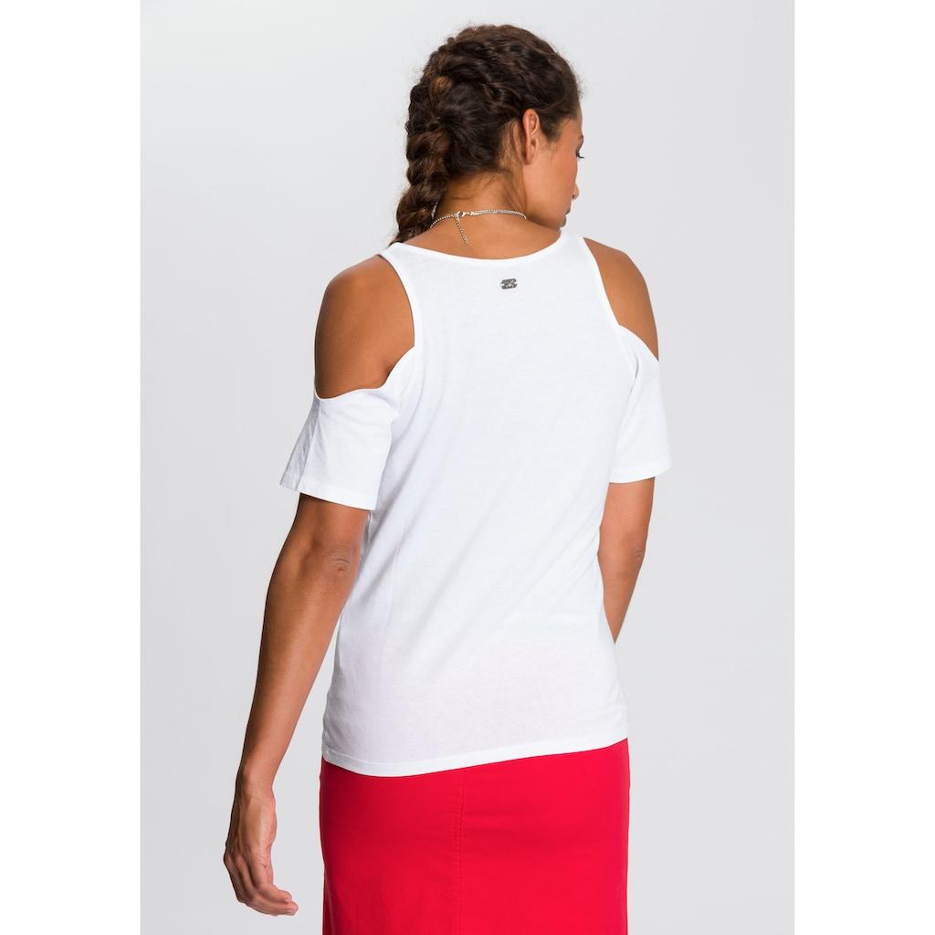 TOM TAILOR Polo Team T-Shirt, mit modisch ausgeschnittenen Schultern