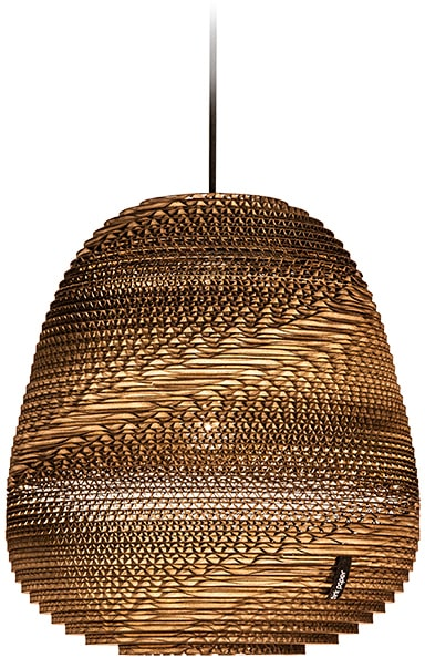 think paper Hängeleuchte Binky 290, E27, 1 St., einzigartige Lampe, Unikat aus Pappe, Deckenlampe für LED