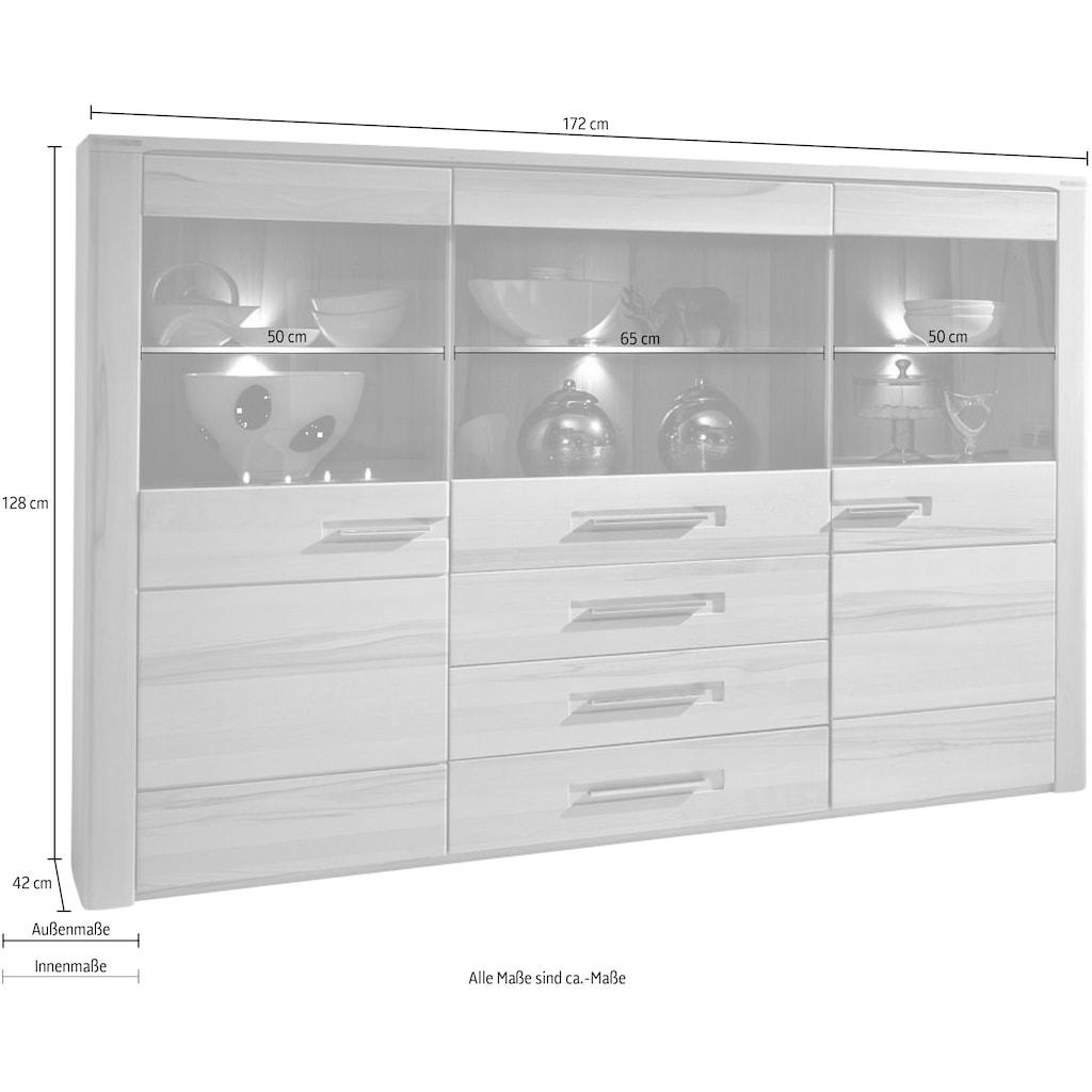 Innostyle Highboard »Nature Plus«, Breite 172 cm, 3 Glas-/Holztüren, 3 Schubkästen