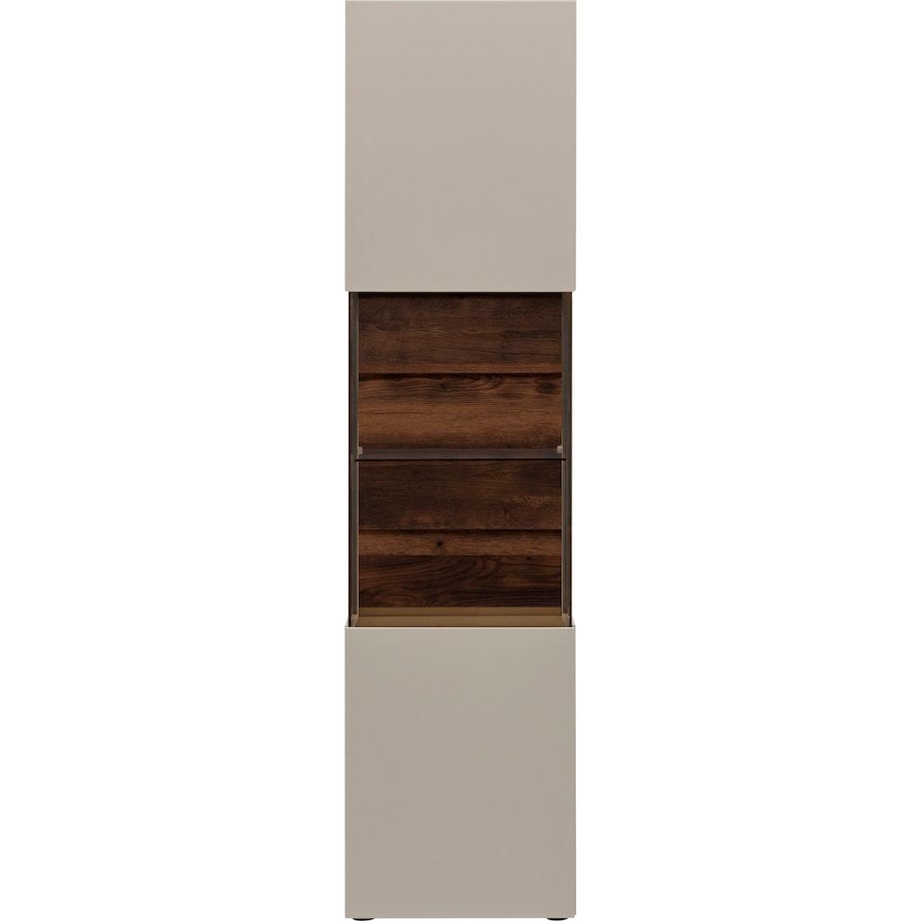 GWINNER Glasvitrine »Misano Z11«, in Lack fango, Höhe 196,8 cm, wahlweise mit Beleuchtung