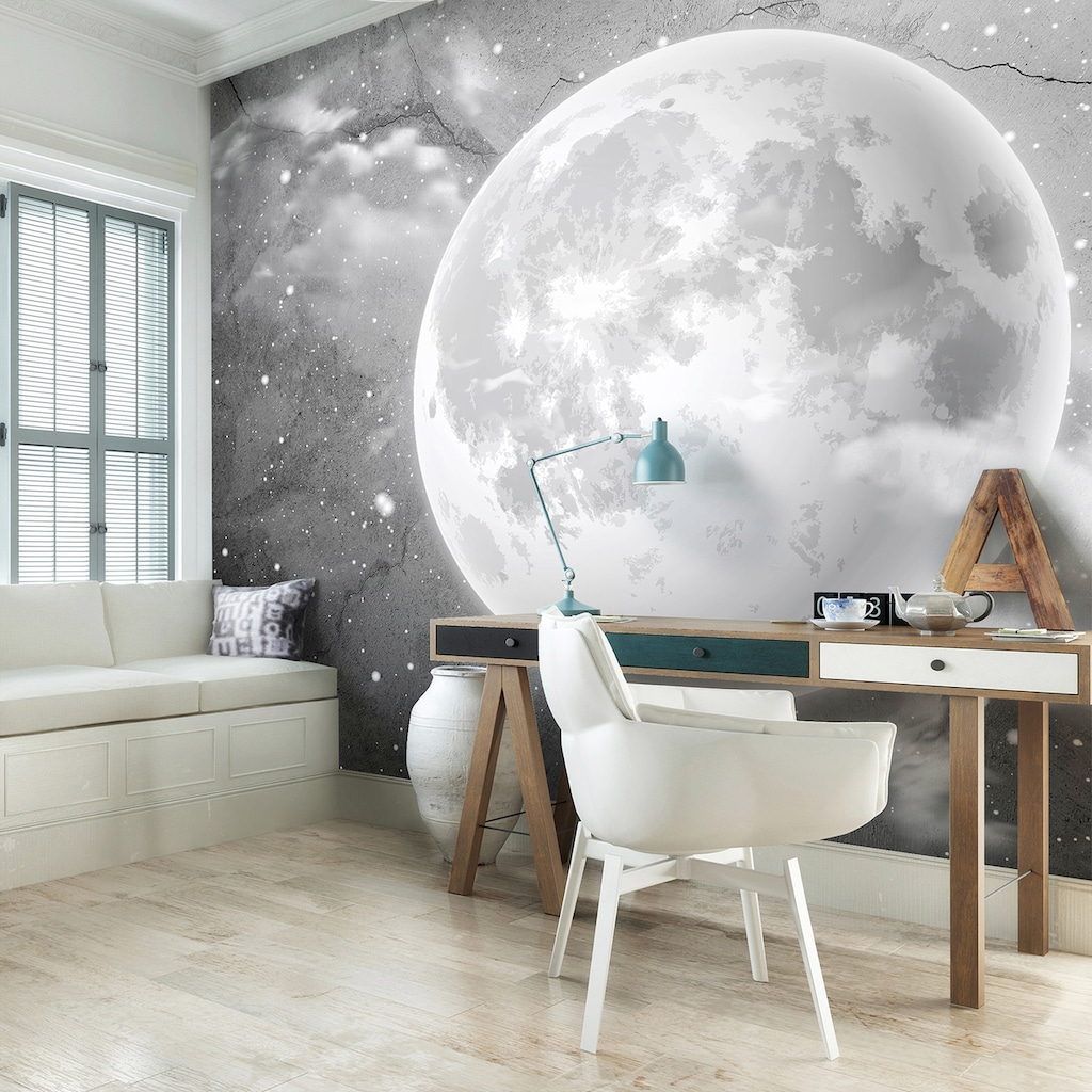 Consalnet Vliestapete »Mond auf Beton«, Motiv