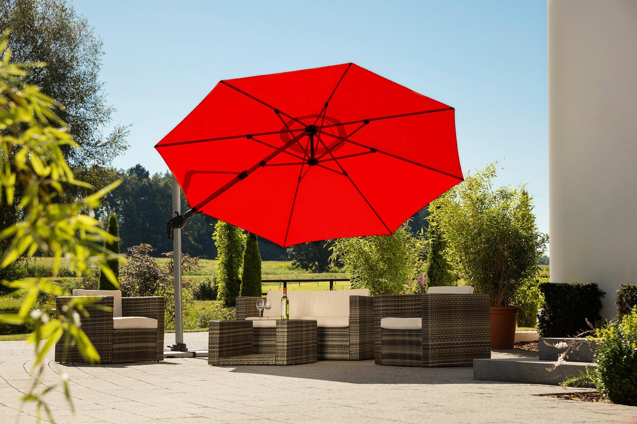 Schneider Schirme Ampelschirm Bermuda, mit Schirmständer, ohne Wegeplatten rot Sonnenschirme -segel Gartenmöbel Gartendeko
