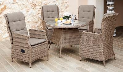 MERXX Gartenmöbelset »Riviera«, 9 - tlg., 4 Hochlehner, Tisch Ø 120 cm, Polyrattan kaufen