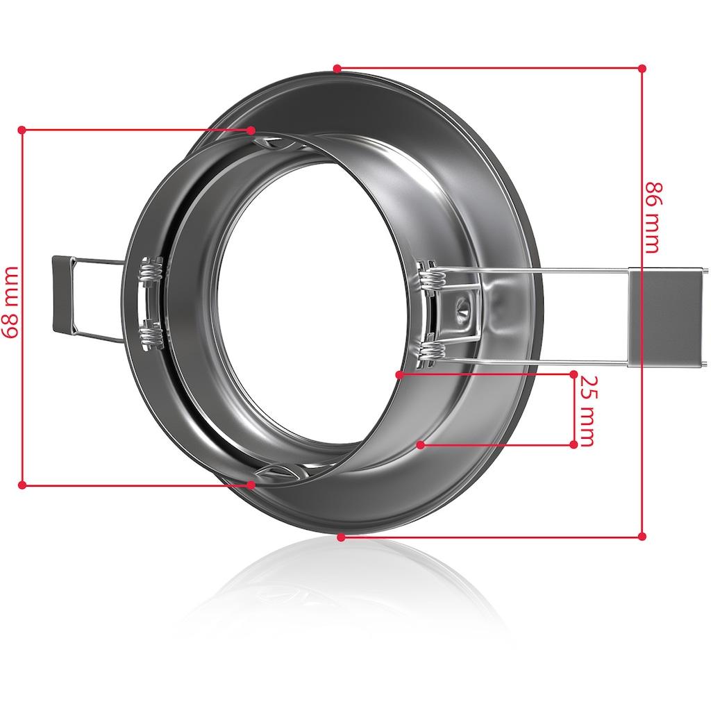 B.K.Licht LED Einbauleuchte, GU10, 10 St., Einbauleuchtenrahmen GU10 10er-Set Einbaustrahler Einbaurahmen schwenkbar