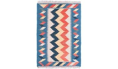 morgenland Wollteppich »Kelim Fars Teppich handgewebt blau«, rechteckig, 4 mm Höhe,... kaufen