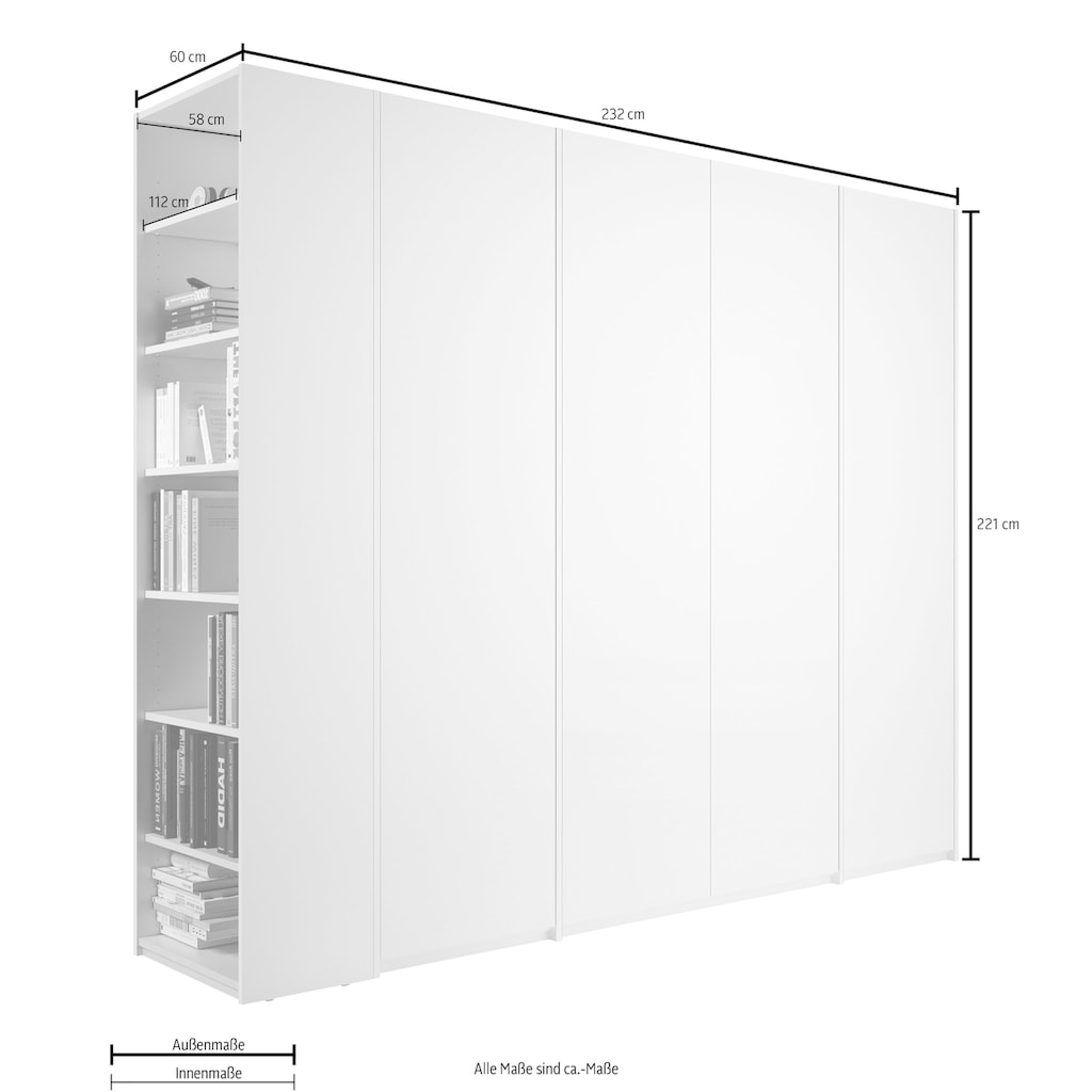 Müller SMALL LIVING Drehtürenschrank »Modular Plus Variante 5«, inklusive einer geräumigen Schublade, Anbauregal wahlweise rechts oder links montierbar
