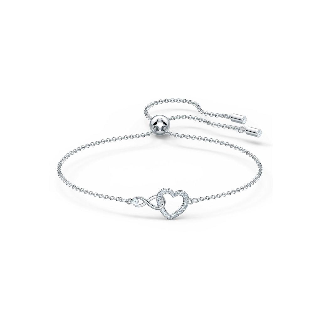 Swarovski Armband »Herz/Unendlichkeitsschleife, Infinity Heart, weiss, rhodiniert, 5524421«, mit Swarovski® Kristallen