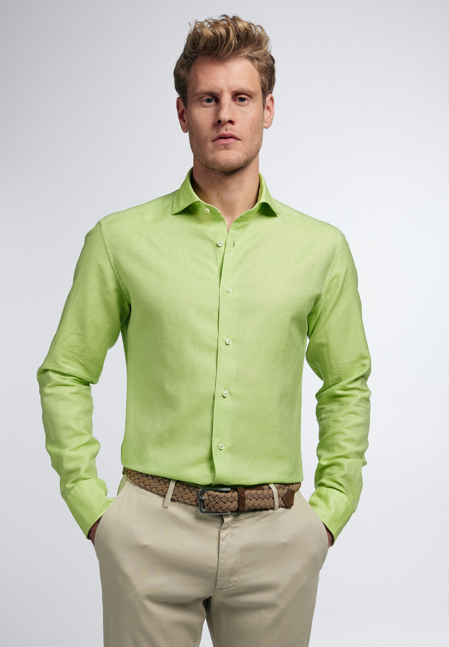 Eterna Businesshemd SLIM FIT, Langarm grün Herren Business Hemden Businessmode