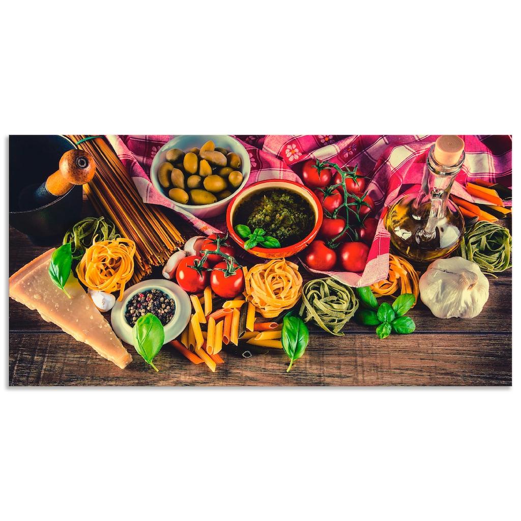 Artland Wandbild »Italienisch mediterrane Lebensmittel«, Lebensmittel, (1 St.), in vielen Größen & Produktarten - Alubild / Outdoorbild für den Außenbereich, Leinwandbild, Poster, Wandaufkleber / Wandtattoo auch für Badezimmer geeignet