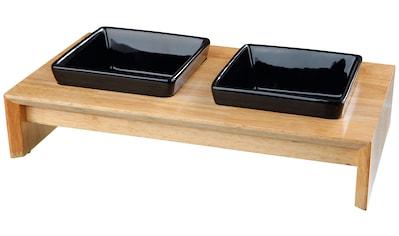Trixie Fressnapf - Set, Keramik/Holz, 2 x 400 ml kaufen
