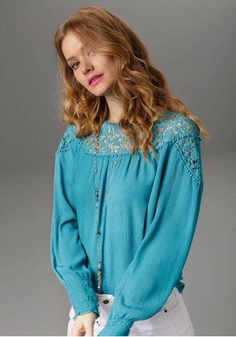 Aniston CASUAL Spitzenbluse, aus Häkelspitze und Bordüren kaufen