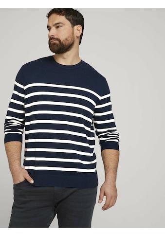 TOM TAILOR Men Plus Strickpullover »gestreiftes Sweatshirt« kaufen