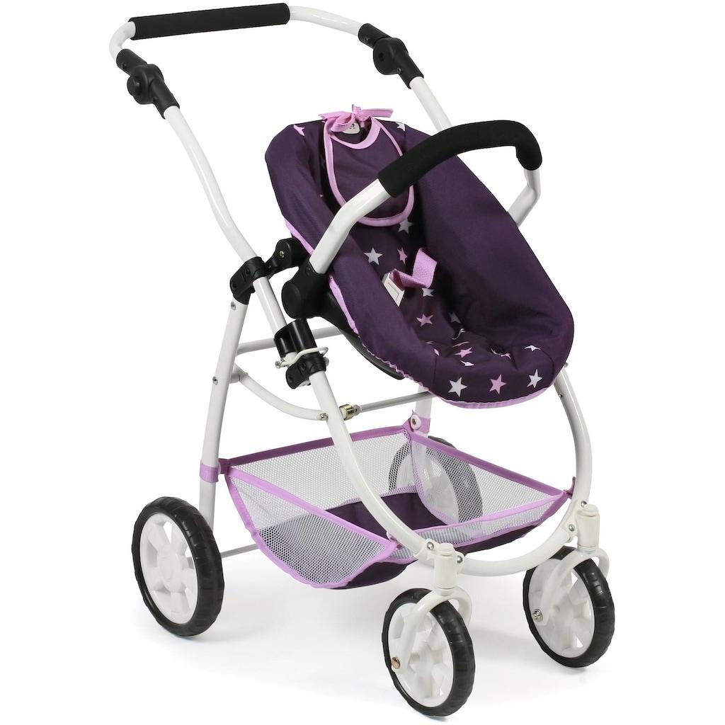 CHIC2000 Kombi-Puppenwagen »Emotion All In 3in1, Stars Lila«, inkl. Babywanne, Babyschale und Sportwagenaufsatz