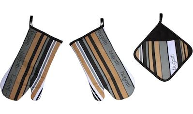 bugatti Topfhandschuhe »bugatti Tape«, (Set, 3 tlg., bestehend aus 2x Ofenhandschuh,... kaufen