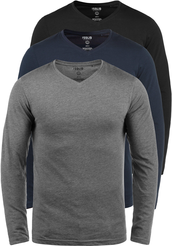 solid -  Langarmshirt Basil, Langarmshirts im 3er-Pack