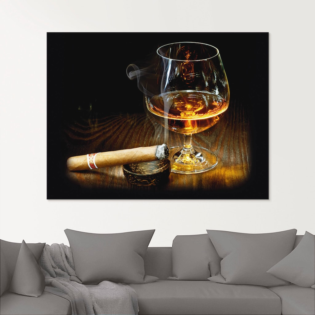 Artland Glasbild »Zigarre und Cognac«, Zigarren, (1 St.)