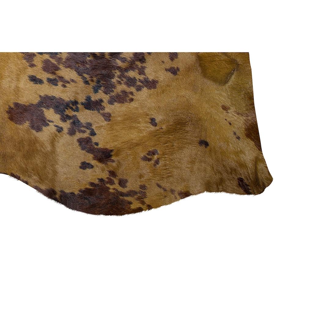 Trendline Fellteppich »Spots Braun«, fellförmig, 3 mm Höhe, echtes gefärbtes Rinderfell, Naturprodukt - daher ist jedes Rinderfell ein Einzelstück, Wohnzimmer