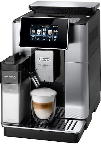 De'Longhi Kaffeevollautomat PrimaDonna Soul ECAM 610.75.MB mit Kaffeekannenfunktion inkl. Kaffeekanne, silber, 2,2l Tank, Scheibenmahlwerk kaufen