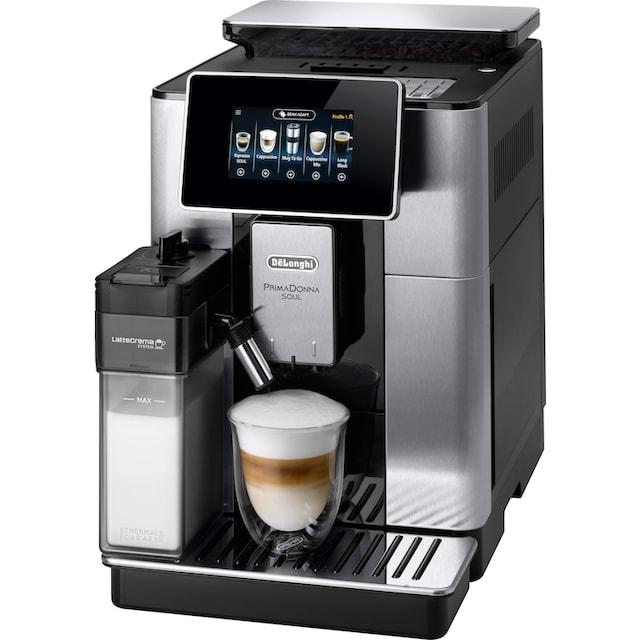 De'Longhi Kaffeevollautomat PrimaDonna Soul ECAM 610.75.MB mit Kaffeekannenfunktion, silber, 2,2l Tank, Scheibenmahlwerk