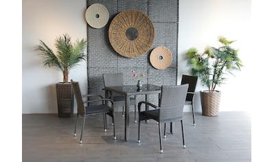 Ploß Gartenstuhl »BRADFORD«, 4er Set, Stahl, stapelbar, graphit kaufen
