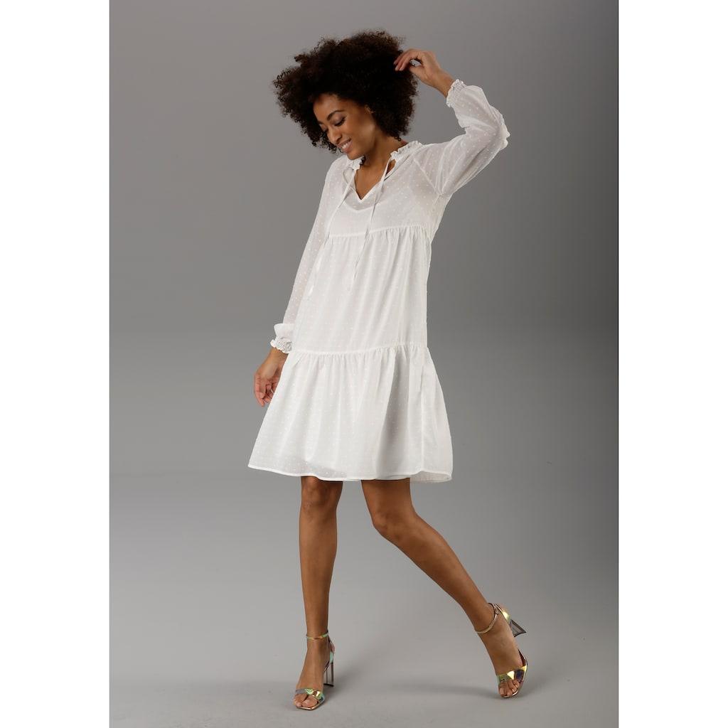 Aniston CASUAL Sommerkleid, (Set, 2 tlg.), mit eingewebten Punkten - NEUE KOLLEKTION