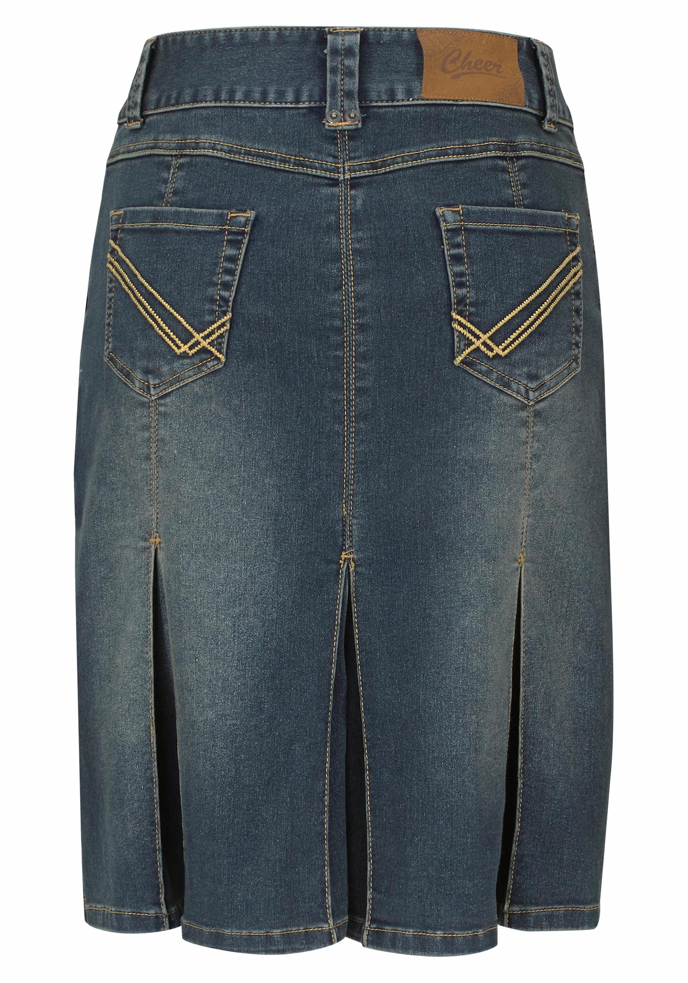 aniston casual jeansrock Damen Jeansrock in trendiger Used Waschung AKLBB491126484