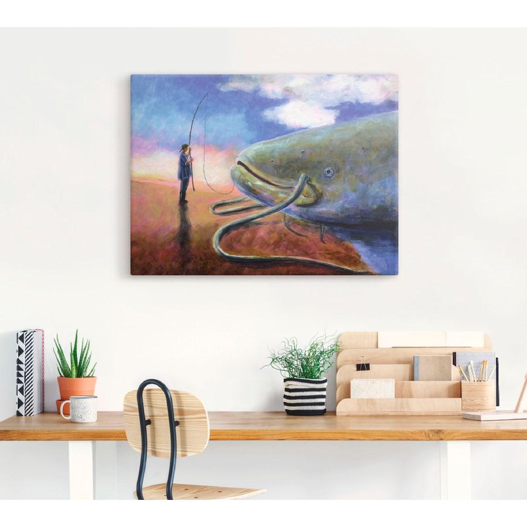 Artland Wandbild »Einen dicken Fisch an Land ziehen«, Wassertiere, (1 St.), in vielen Größen & Produktarten -Leinwandbild, Poster, Wandaufkleber / Wandtattoo auch für Badezimmer geeignet