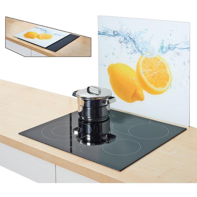 """Zeller Present Herdblende-/Abdeckplatte """"Lemon Splash"""", Glas, (1-tlg.)"""