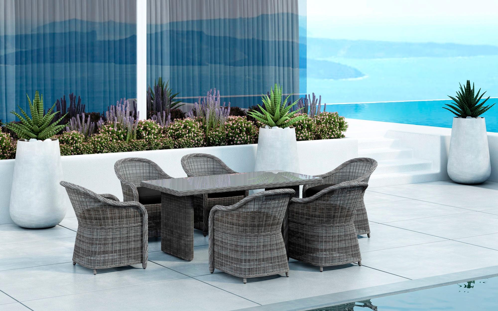 BAIDANI Gartenmöbelset Spring  7-tlg 6 Stühle Tisch 90x180 cm inkl Auflage