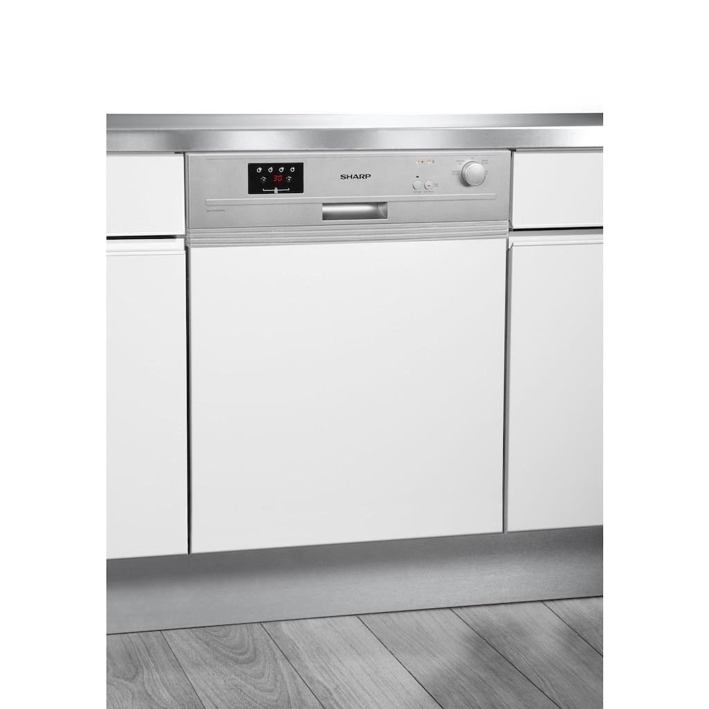 Sharp teilintegrierbarer Geschirrspüler, QW-GX13S47ES-DE, 12 Maßgedecke