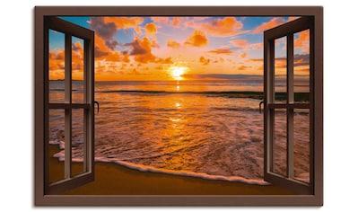 Artland Wandbild »Fensterblick Sonnenuntergang am Strand«, Sonnenaufgang & -untergang,... kaufen