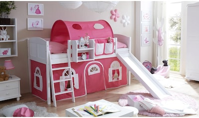Ticaa Jugendzimmer-Set »Ekki«, mit Rutsche und Textil-Set, Kiefer massiv weiß gewachst kaufen